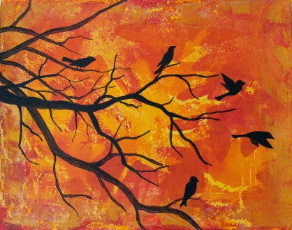 "Birds on Autumn Evening / 8"" x 10"" / acrylic on archival paper SOLD"