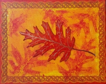 "Oak Leaf / 8"" x 10"" / acrylic on canvas"