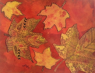 "Maple Leaves and Zentangles / 8"" x 10"" / mixed media SOLD"