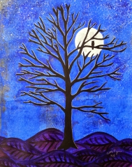 """November Moon / 8"""" x 10"""" / mixed media on archival paper (matted and framed)"""