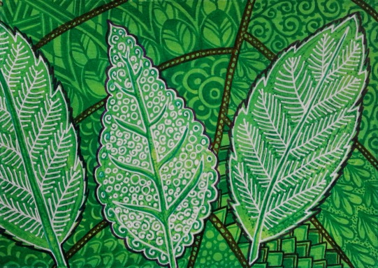 """Leaves of Spring / 5"""" x 7"""" / mixed media on archival paper (matted)"""