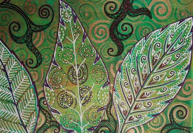 """Leaves and Spirals / 5"""" x 7"""" / mixed media on archival paper SOLD"""