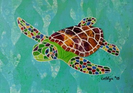 """Sea Turtle Hatchling / 5"""" x 7"""" / Mixed Media SOLD"""