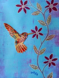 "Hummingbird / 8"" x 10"" / mixed media SOLD"