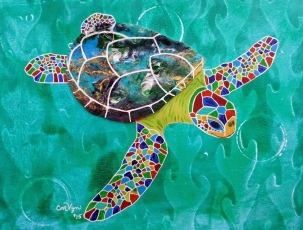 "Diving Sea Turtle / 8"" x 10"" / acrylic on archival paper"