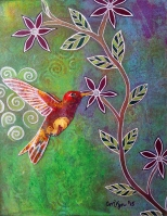 "Hummingbird / 8"" x 10"" / Mixed Media on archival paper SOLD"