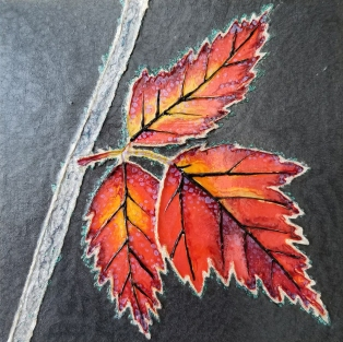 """Frosted Leaves"" / 6"" x 6"" / mixed media on wood panel SOLD"