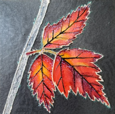 """""""Frosted Leaves"""" / 6"""" x 6"""" / mixed media on wood panel SOLD"""