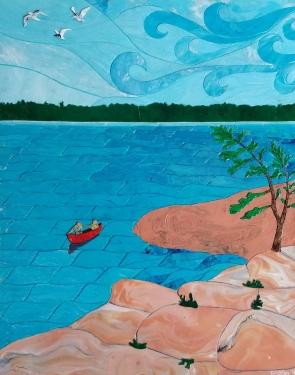 """Off Grid Sabbatical / 16"""" x 20"""" / acrylic on canvas"""