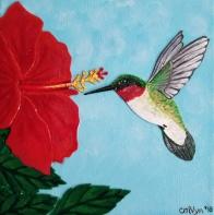 """Ruby"" / 8"" x 8"" / acrylic & acrylic skins, on canvas"