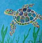 "Peaceful Sea Turtle / 12"" x 12"" / acrylic on canvas"