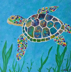 "Peaceful Sea Turtle / 12"" x 12"" / acrylic on canvas"