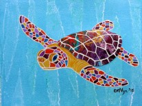 """Sea Turtle Hatchling / 5"""" x 7"""" / Mixed Media on archival paper (matted and framed)"""