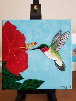 "Ruby / 8"" x 8"" / acrylic & acrylic skins, on canvas"