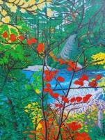 "Autumn Glow at Whiskey Rapids / 18"" x 24"" / acrylic on canvas"