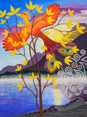 "Phoenix Rising to New Life / 30"" x 40"" / acrylic on canvas (new 2019 image)"