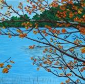 """Found Lake, (Hwy 60, km 20, Algonquin Park)"" / 10"" x 10"" / acrylic on canvas"