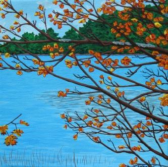 """""""Found Lake (Hwy. 60, km. 20)"""" / 10""""x10"""" / acrylic on canvas"""