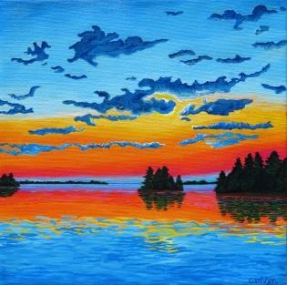 """ROYGBIV Sunset"" / 10"" x 10"" / acrylic on canvas"