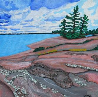 """Rugged Shoreline"" / 10"" x 10"" / acrylic on canvas"