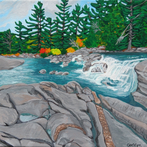 """""""Hiking at Wilson's Falls"""" / 10"""" x 10"""" / acrylic on canvas SOLD"""