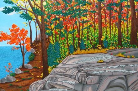 """Lakeside Trail"" / 36"" x 24"" / acrylic on canvas"