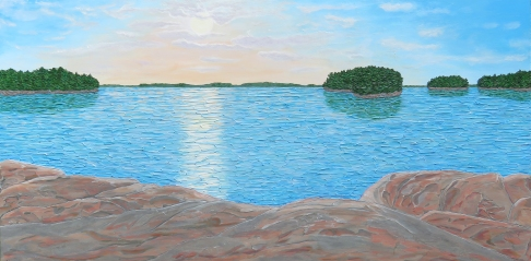 """""""A Settler's Unspoiled View (Sunset Blessing)"""" / 30"""" x 60"""" / acrylic on wood"""
